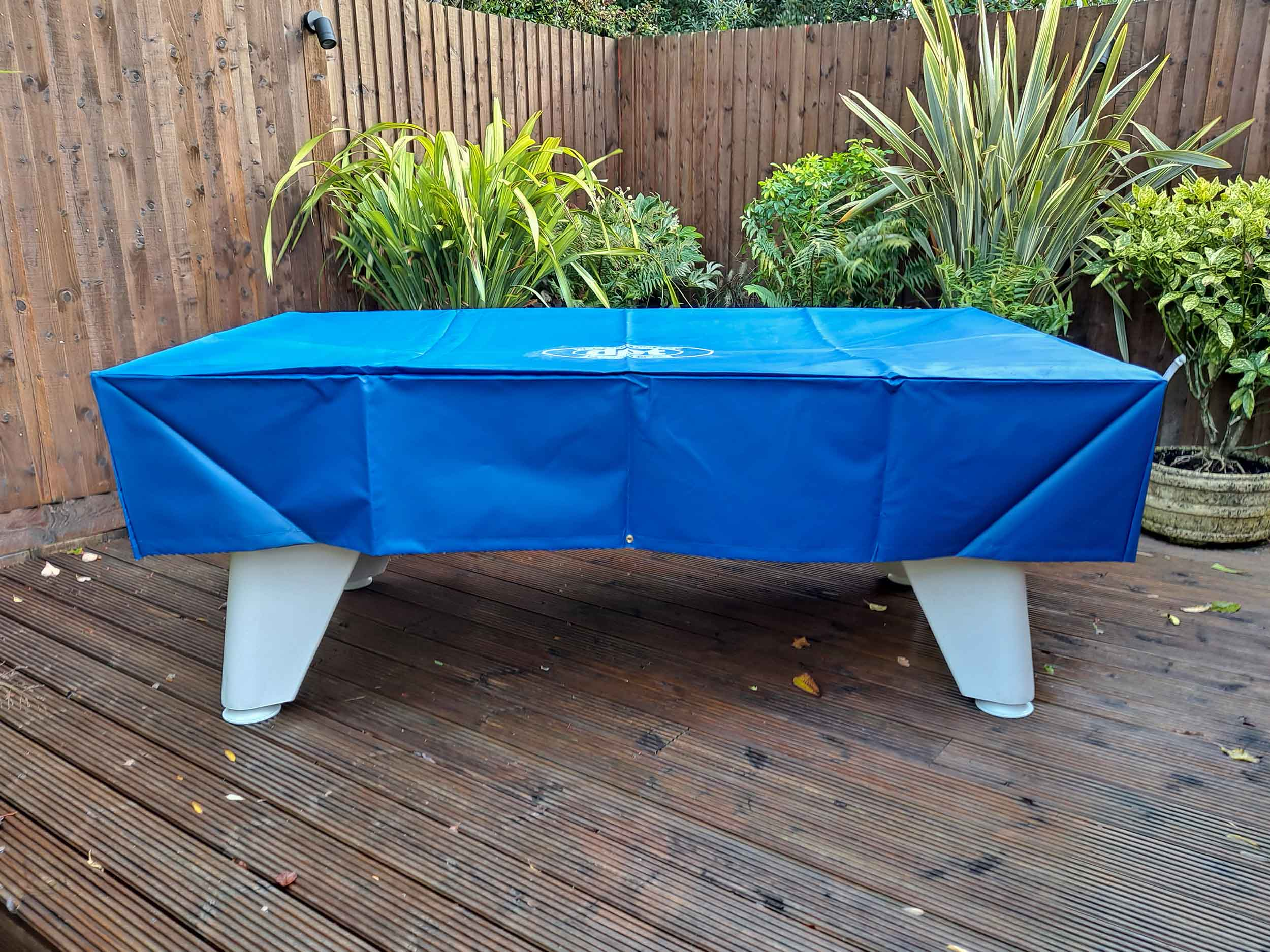 Outback 2.0 Outdoor Pool Table With Cover - White Finish - Blue Cloth - Installation - 6
