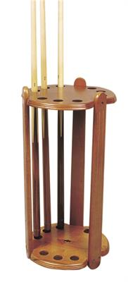 Round Brown Deluxe Cue Stand - 9 Cues