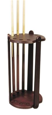 Round Mahogany Deluxe Cue Stand - 9 Cues