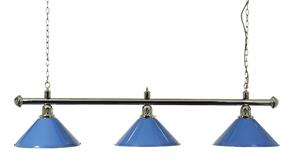 Pool Table Light - Chrome Bar with Blue Shades