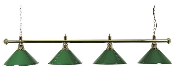 Pool Table Light - Brass Bar with 4 Green Shades