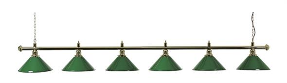 Snooker Table Light - Brass Bar with 6 Green Shades