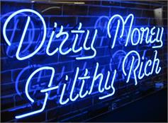 Custom Neon Signs: Example - Dirty Money