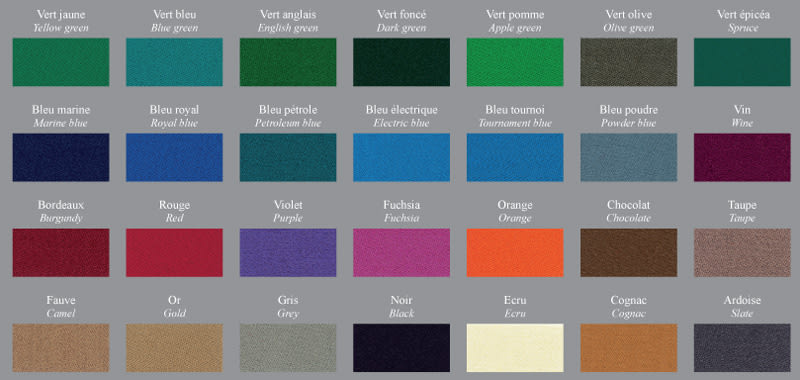Billiard Toulet Cloth Colours