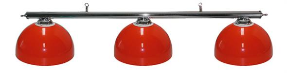 Pool Table Light - Chrome Bar with 3 Red Bowl Shades