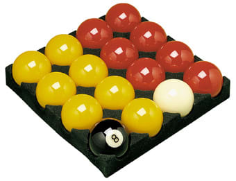 "An image of 2"" Reds and Yellows Pool Balls"