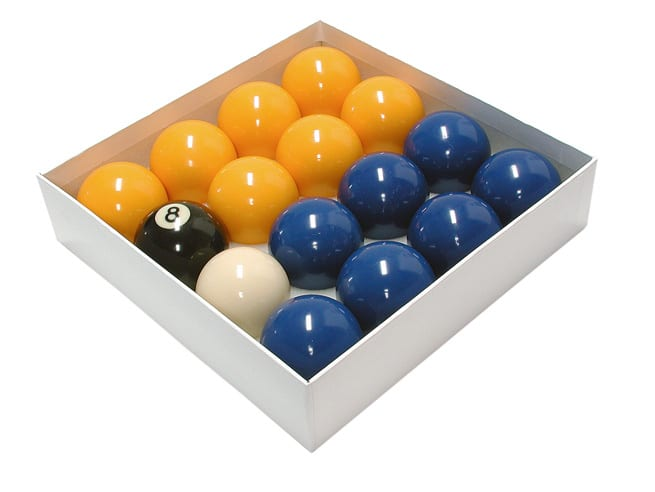 "An image of 2"" Blues and Yellows Pool Balls"