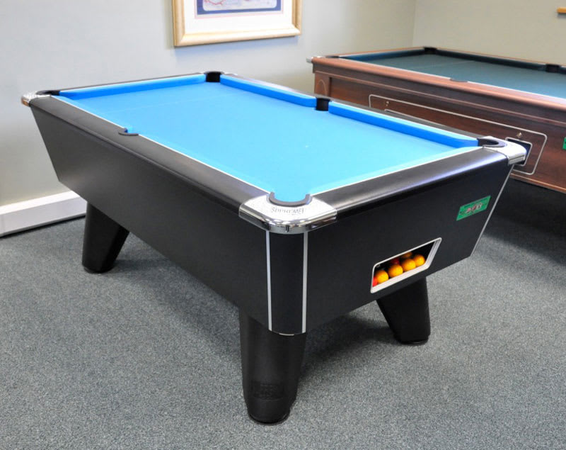 Supreme Winner Black Pool Table with Electric Blue Cloth