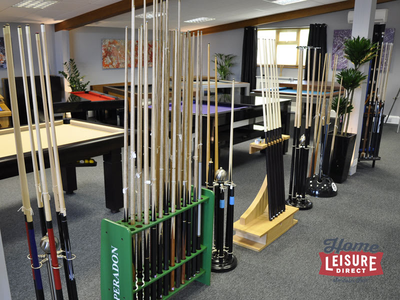 Cues on Display in Our Showroom