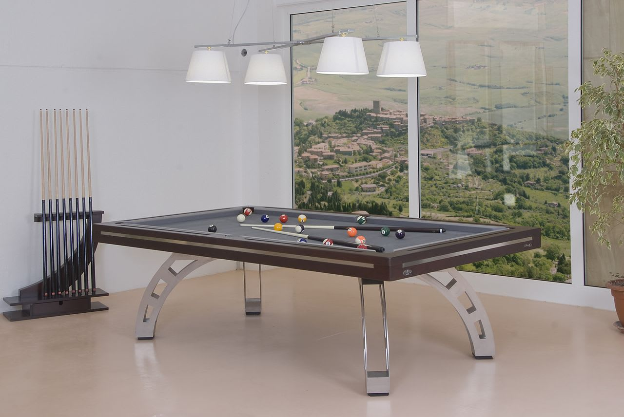 Etrusco P40 Pool Table: Mahogany with Stainless Steel legs