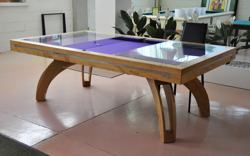 Etrusco P40 Pool Table: Natural Cherry, with matching legs - plexiglass tops