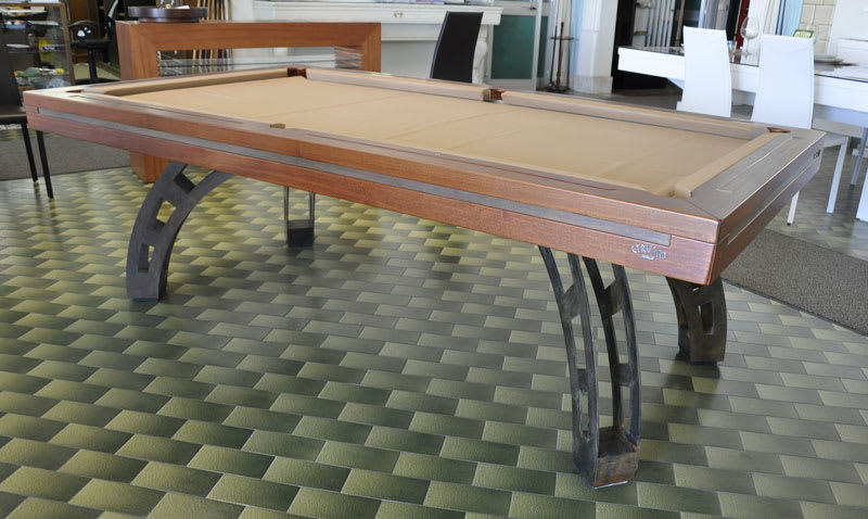Etrusco P40 Pool Table: Medium Tulipwood with Raw Steel Legs