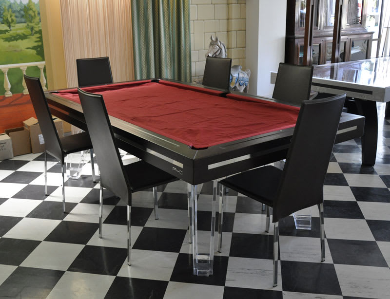 Etrusco P40 Pool Table: Wenge finish with Plexiglass Legs