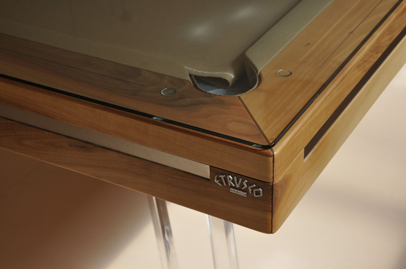 Etrusco P40: Medium Cherry with Plexiglass Legs - with Plexiglass dining tops, corner close-up