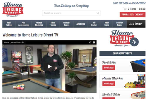 Home Leisure Direct TV - The Games Room TV Channel