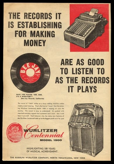 1956 Wurlitzer 1900 Jukebox Advert
