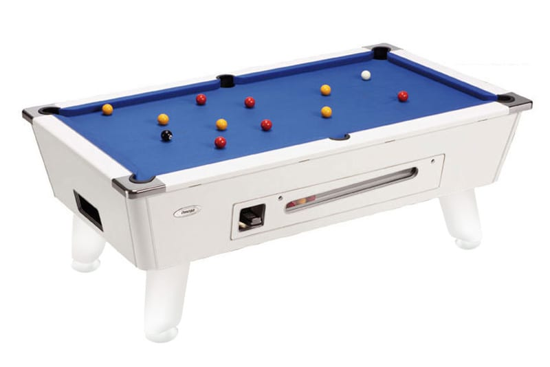 Omega Pool Table: White - Blue Cloth - Coin-Op