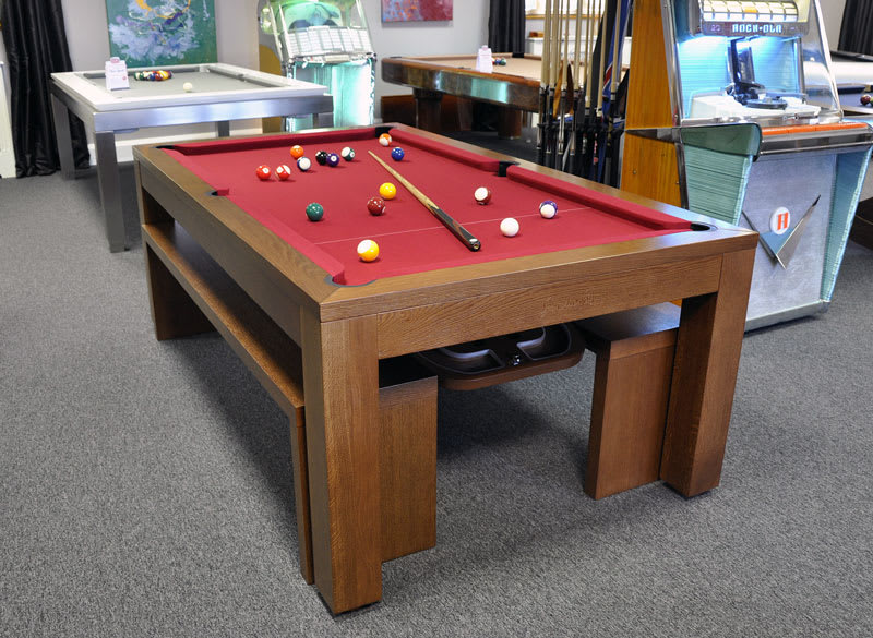 Billiards Monfort Lewis Pool Table - Medium Oak With Benches