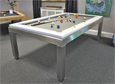 Bilhares Carrinho New York White Gloss Pool Table